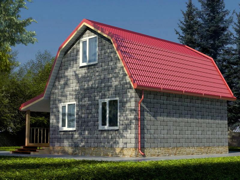 дом из шлакоблока с мансардой