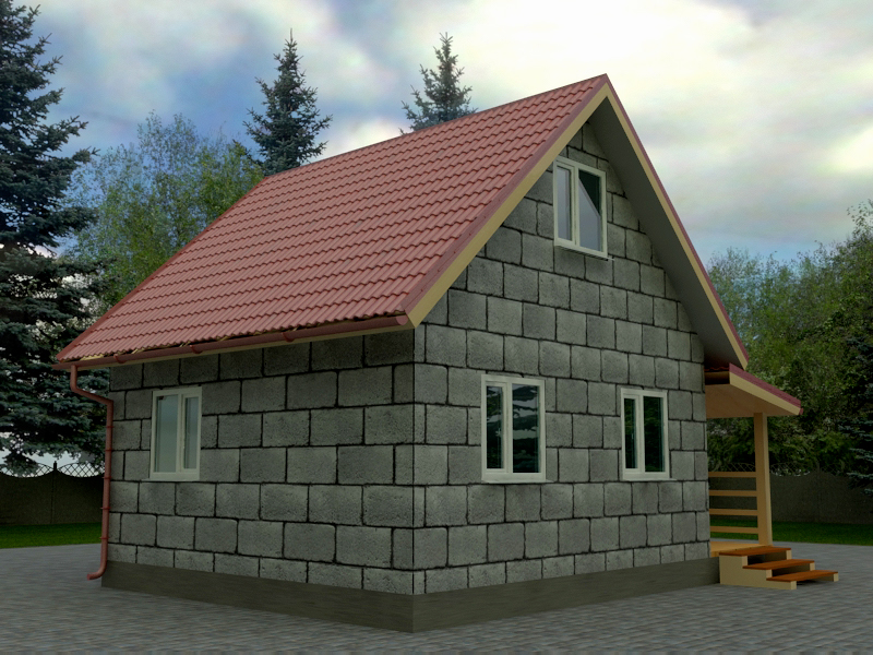 небольшой дом из шлакоблока